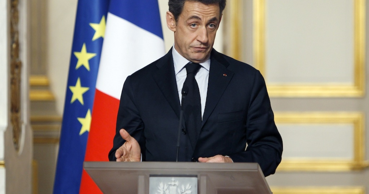 French President Nicolas Sarkozy gives a speech at the end of a crisis summit with unions representatives at the Elysee Palace in Paris, on January 18, 2012 to try and boost the French economy as recession looms and nearly three million people hunt for employment.</p>