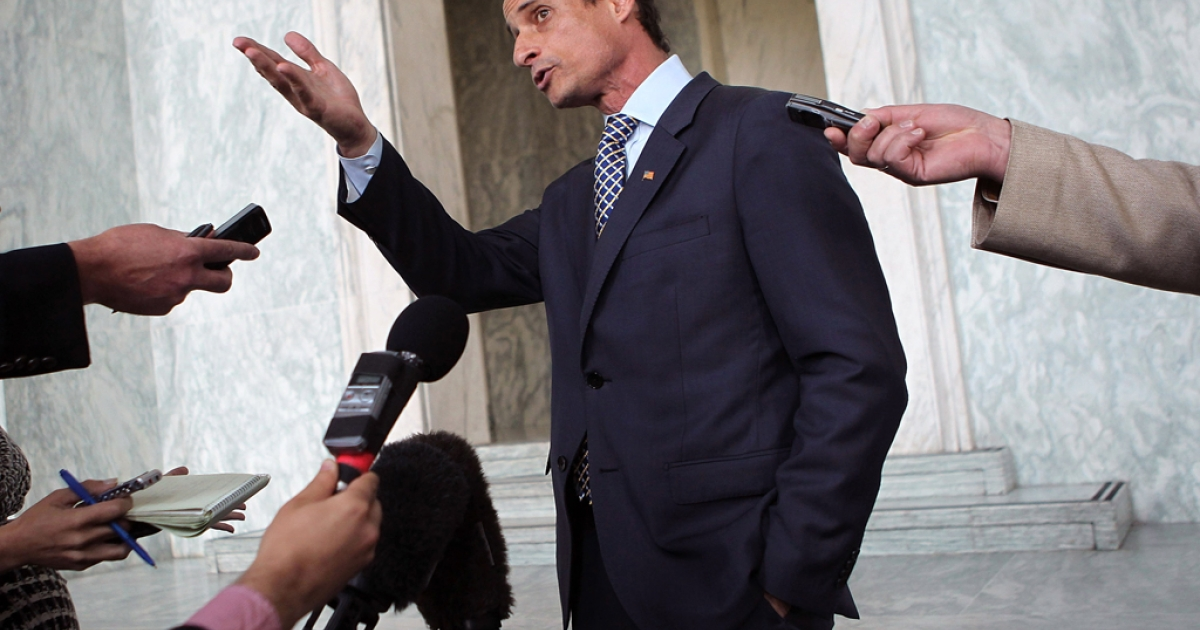 U.S. Rep. Anthony Weiner (D-NY) speaks to the media regarding a lewd photo tweet on Capitol Hill in Washington, DC</p>