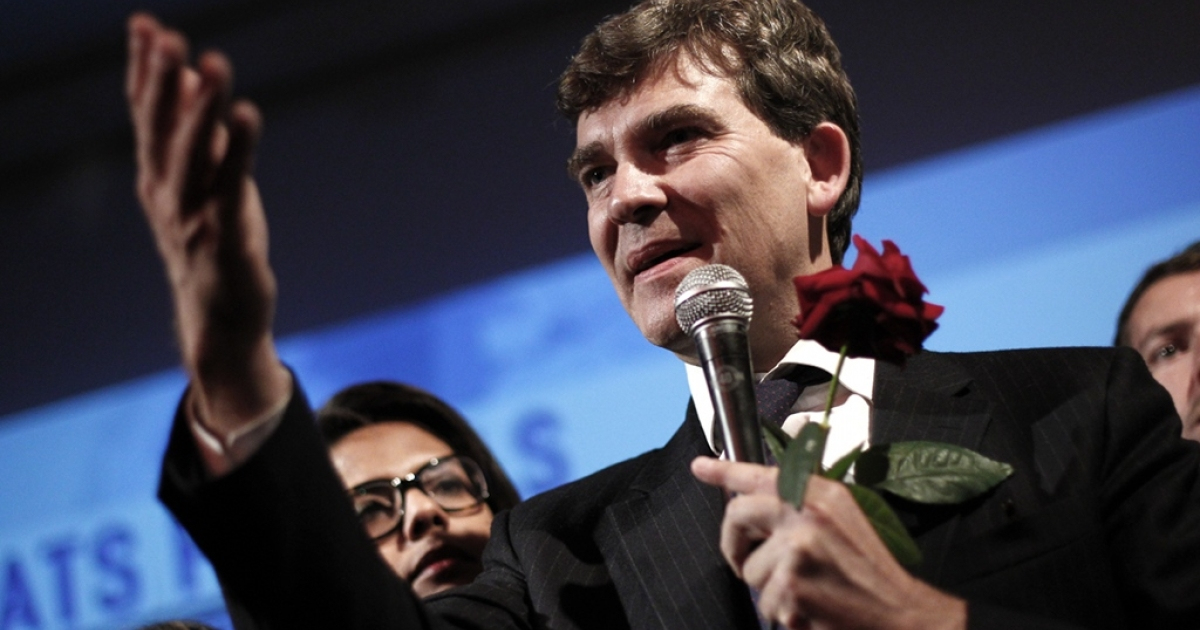 Arnaud Montebourg, candidate for the Socialist party's 2011 primary vote for France's 2012 presidential election, gives a speech on October 9, 2011 at the Bellevilloise bar in Paris after the first round of the vote. Anti-globalist Montebourg won 17 percent, making him a potential king-maker.</p>