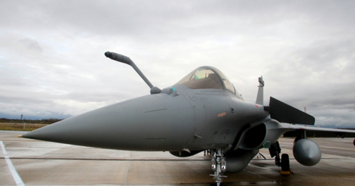 A picture shows a Dassault Rafale jet fighter on December 12, 2011 at Air Force Base 113 in Saint-Dizier western France, during a ceremony to recognise the work done by units engaged in overseas operations in Afghanistan and Libya. India on Tuesday chose Dassault to supply 126 Rafale jets to serve the Indian Air Force as medium multi-role combat aircraft (MMRCA) in a deal worth $10.4 billion.</p>