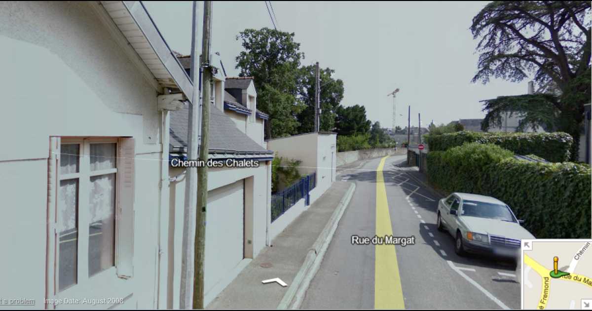 A Google Street View from the French town of Angers near where a Frenchman was captured urinating in his garden by a Google camera van.</p>