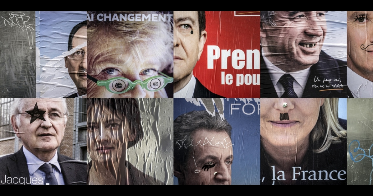 A composite photo of doctored campaign posters in Lyon, France. Many in Europe worry the French aren't taking their election seriously enough.</p>