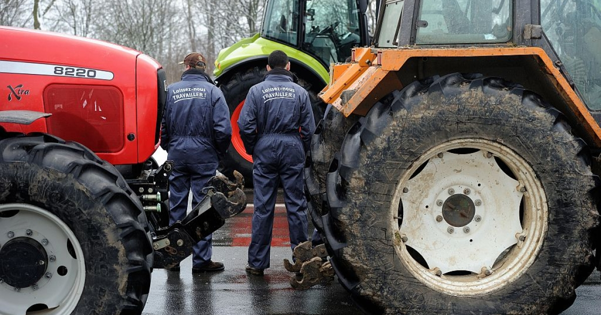 Farmers put slogans :'Laissez-nous travailler' (Let us work) on their coveralls as they organize a partial blockade with some hundred tractors during a demonstration called by farmers local union FDSEA in Arras, northern france, on January 15, 2013.</p>