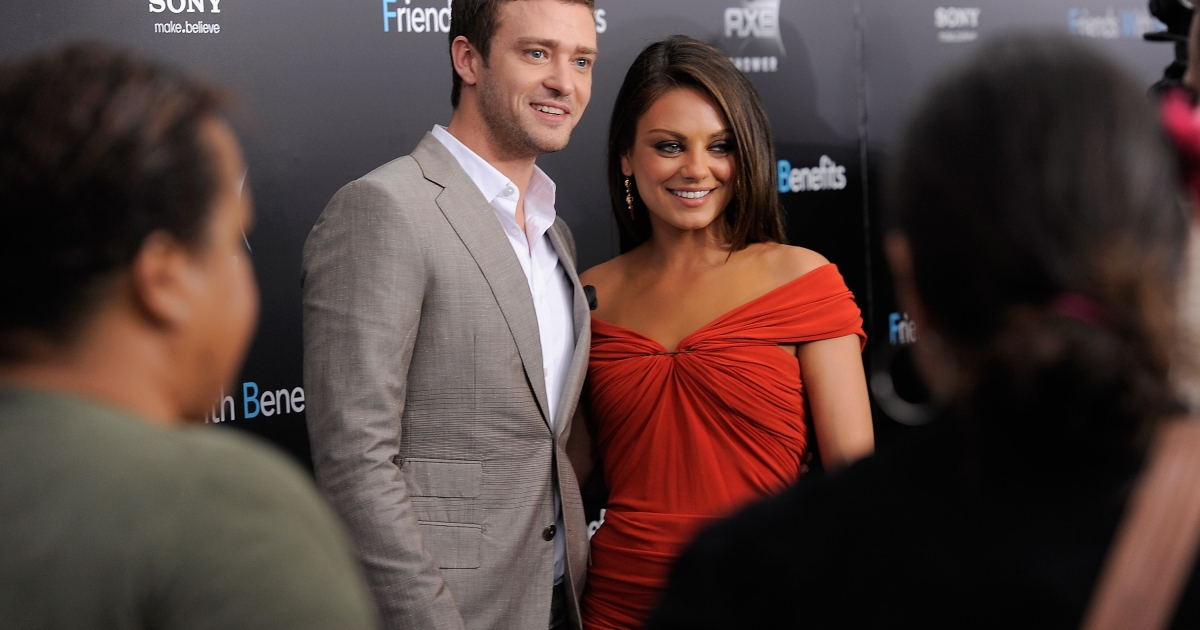 Actors Justin Timberlake and Mila Kunis attend the 'Friends with Benefits' premiere at the Ziegfeld Theater on July 18, 2011 in New York City.</p>