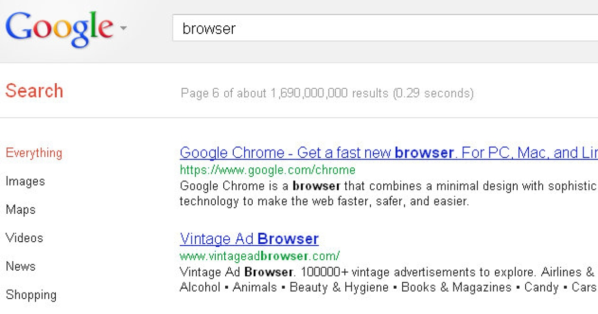 At the time of writing, Chrome did not appear until page six of Google search results for