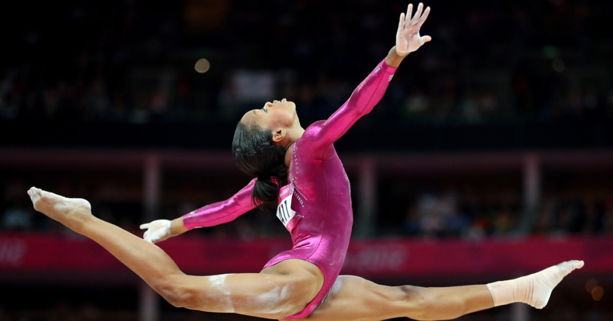 Gabrielle Douglas of the United States competes on the balance beam in the Gymnastics Women's Individual All-Around final on Day 6 of the London 2012 Olympic Games at North Greenwich Arena.</p>