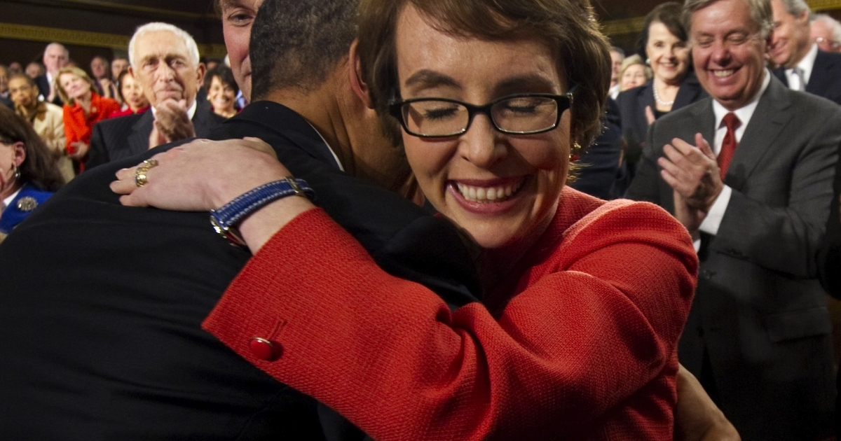 Rep. Gabrielle Giffords resigned on Wednesday, the day after attending the State of the Union address.</p>