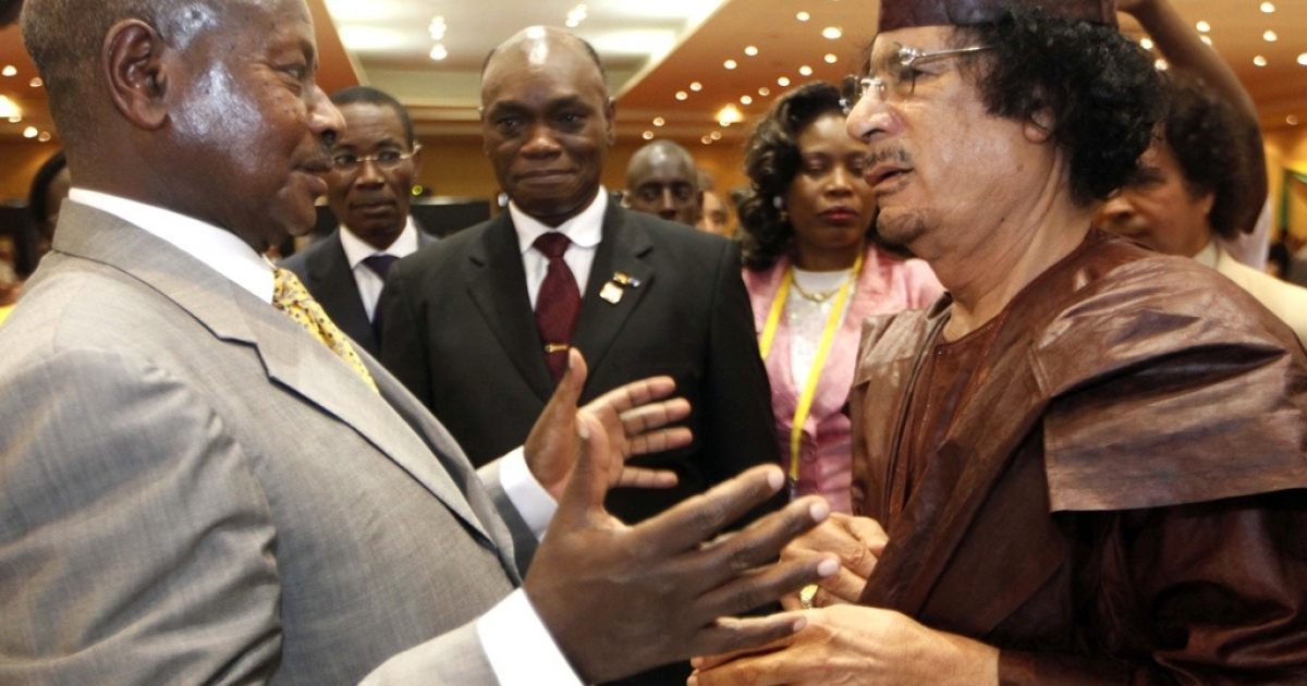 Ugandan President Yoweri Museveni, left, speaks with Libyan leader Muammar Gaddafi at the African Union Summit in Kampala, on July 27, 2010, where 30 heads of state from the AU's 53 members gathered for three days amid unprecedented security in the Ugandan capital.</p>