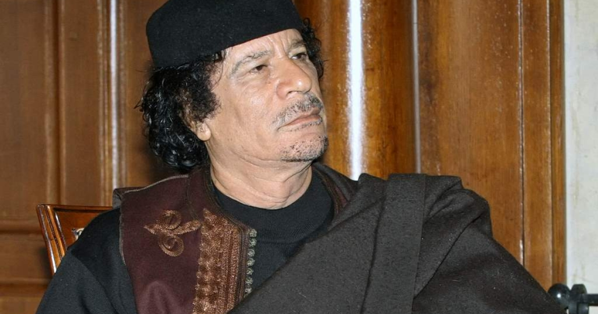 Col. Muammar Gaddafi during a visit to Russian on October 31, 2008.</p>