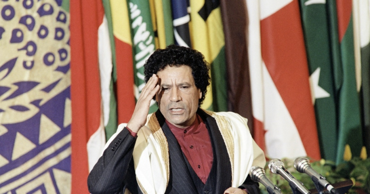 Libyan leader Muammar Gaddafi speaks to members of the non-aligned countries summit, on Sept. 4, 1986 in Harare, Zimbabwe.</p>