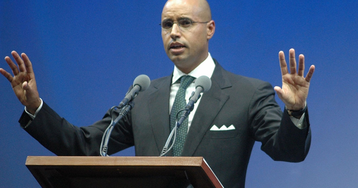 Saif al-Islam Gaddafi, the son of Libyan leader Muammar Gaddafi, gives a speech in Benghaz, in 2007.</p>