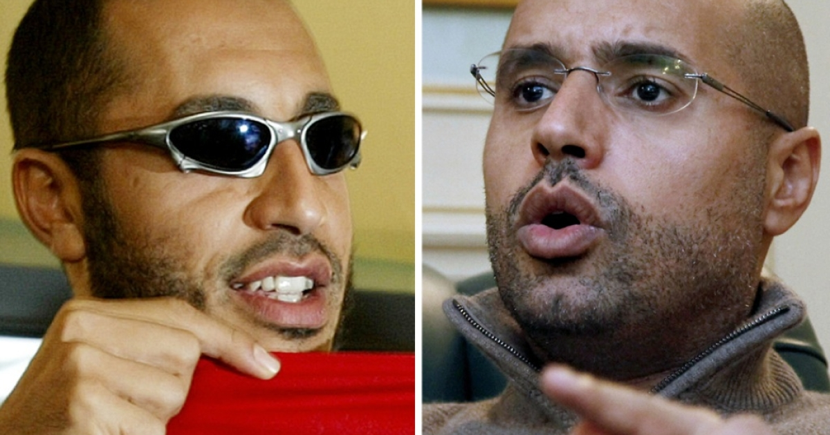 Gaddafi's sons, Saadi (left) and Saif al-Islam, are in hiding.</p>