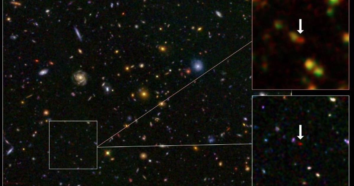 A composite photograph of the galaxy GN-108036 from the Hubble and Spitzer telescopes.</p>