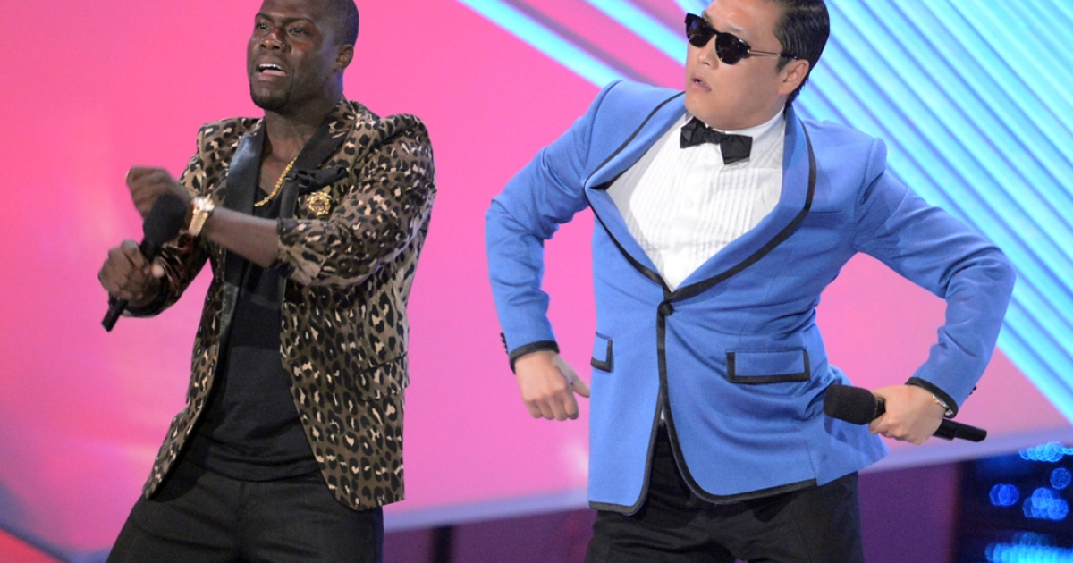 Host Kevin Hart and rapper Psy onstage during the 2012 MTV Video Music Awards at Staples Center on September 6, 2012. Psy's viral hit
