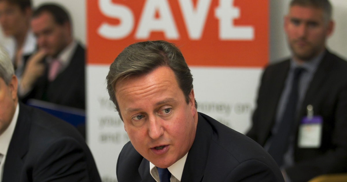 British Prime Minister David Cameron at a conference on  energy prices yesterday.  Today's inflation figures show that energy costs are the main factor in driving inflation in Britain to a three-year high</p>