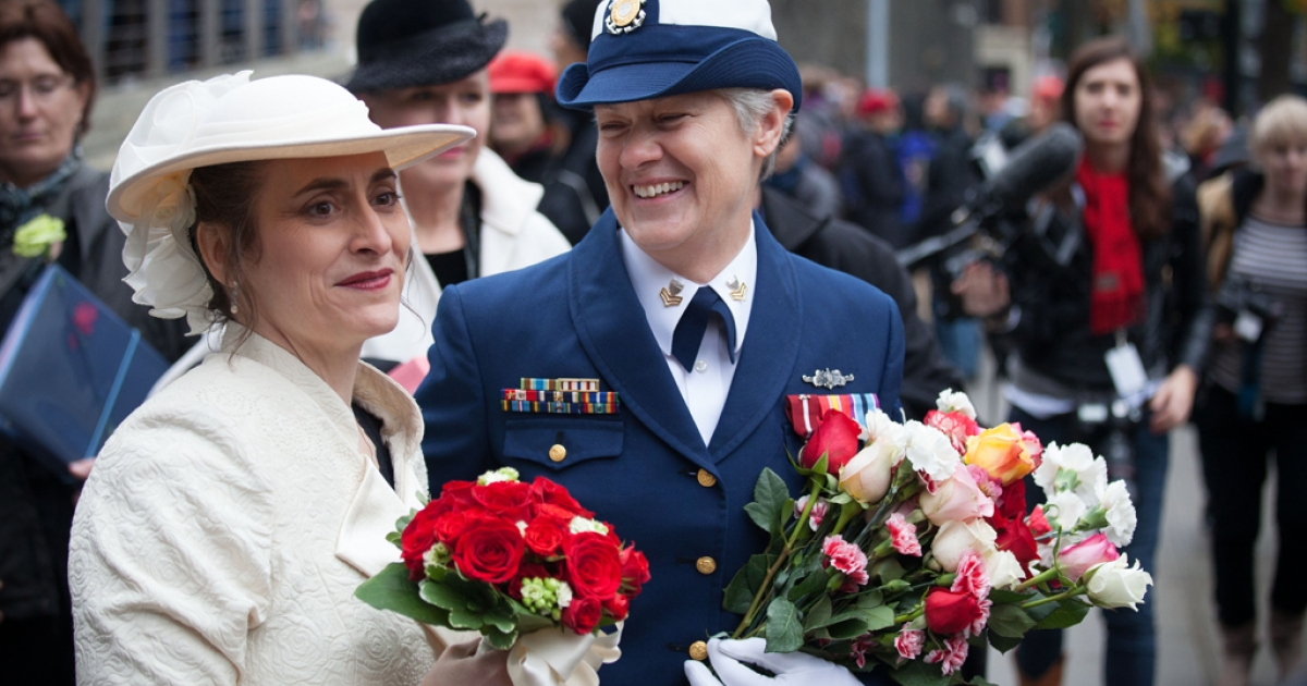 Nancy Monahan, right, a retired Coast Guard petty officer, shares a laugh with her wife, Deb Needham, after their wedding at City Hall on December 9, 2012 in Seattle, Washington. December 9th was the first day that same-sex couples can legally wed in Washington state.</p>