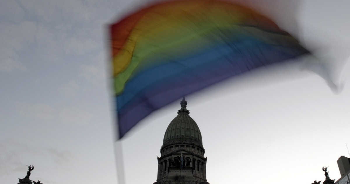 A gay pride flag is waved in front of the Congress building in Buenos Aires, on July 14, 2010.</p>