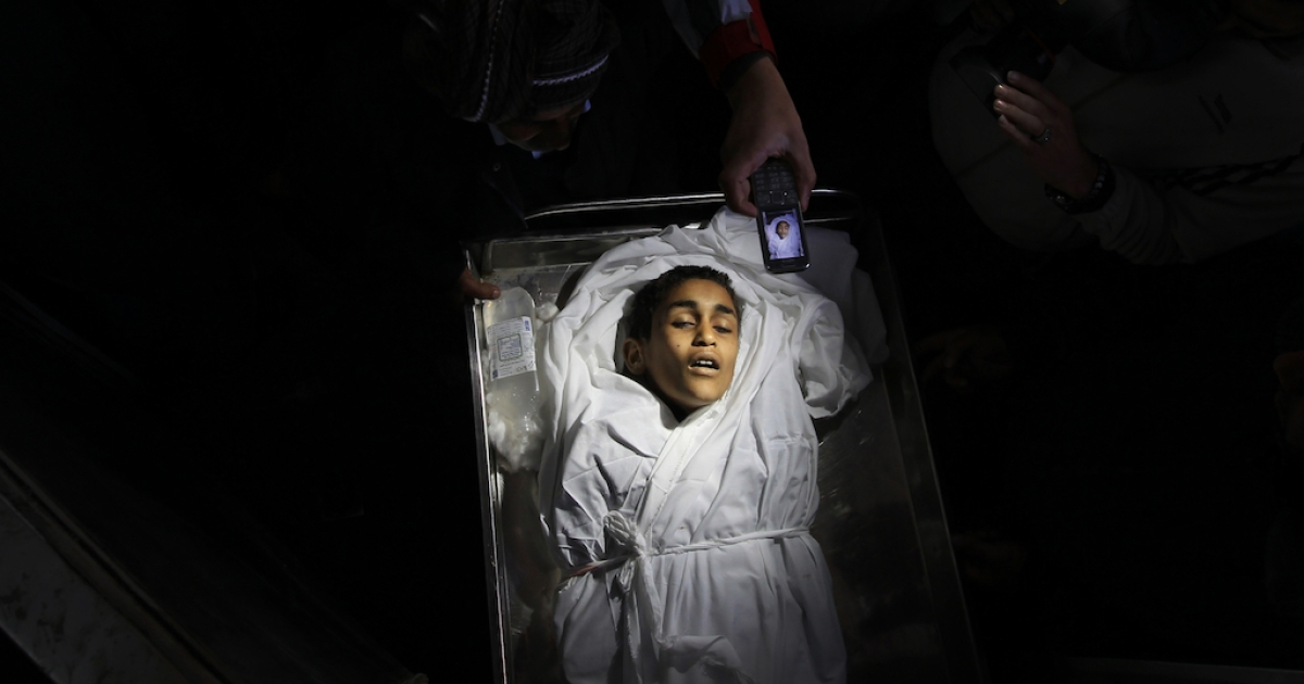 The body of Palestinian boy Ayoub Asaly, killed in the recent round of violence in the Gaza Strip.</p>