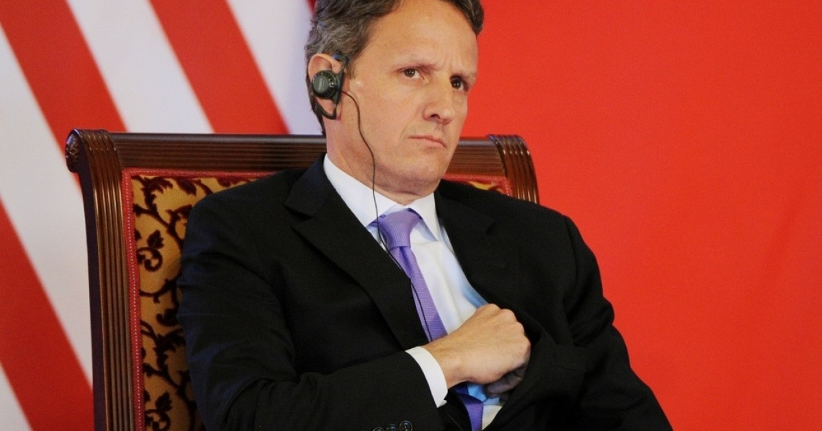 The US Treasury Secretary Timothy Geithner speaks during the opening ceremony of the US-China Strategic and Economic Dialogue at the Diaoyutai Guesthouse in Beijing on May 3, 2012. The Treasury Department released a new report discussing the state of the economy.</p>