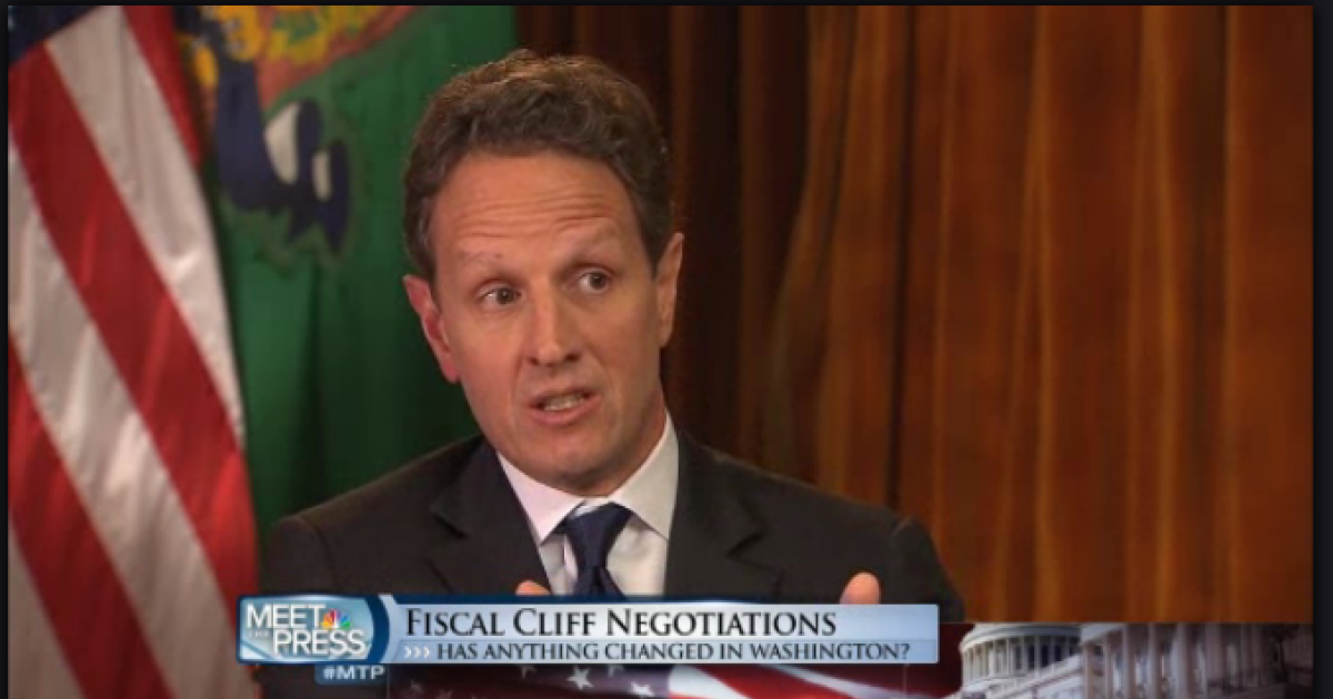 Treasury Secretary Timothy Geithner speaking on NBC's