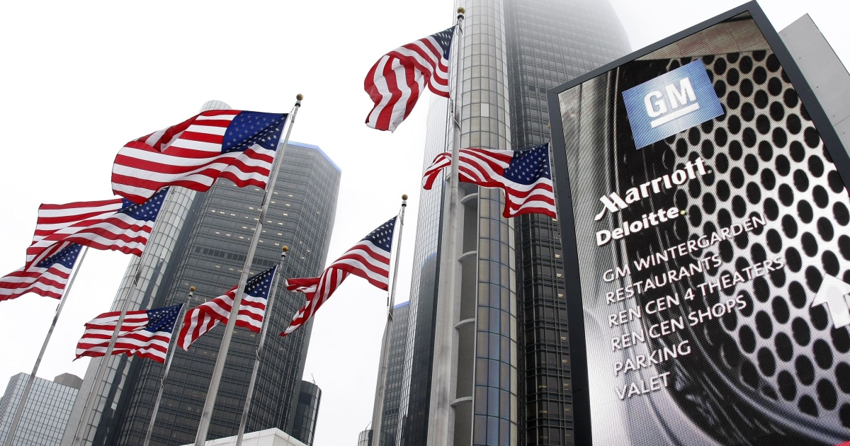 General Motors' world headquarters in Detroit, Michigan. 47,500 of its employees around the world are to receive profit-sharing checks of up to $7,000, an all-time high.</p>