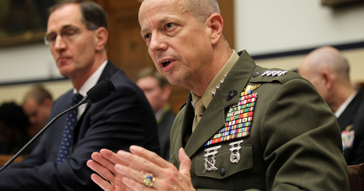 US Marine General John Allen (R), the chief US and NATO commander in Afghanistan, and Acting Defense Undersecretary and Principal Undersecretary for Policy James Miller (L) testify during a hearing before the House Armed Services Committee March 20, 2012 on Capitol Hill in Washington, DC. General Allen testified after the Qurans burning instance and the alleged killing of 16 Afghan civilians by a US soldier.</p>