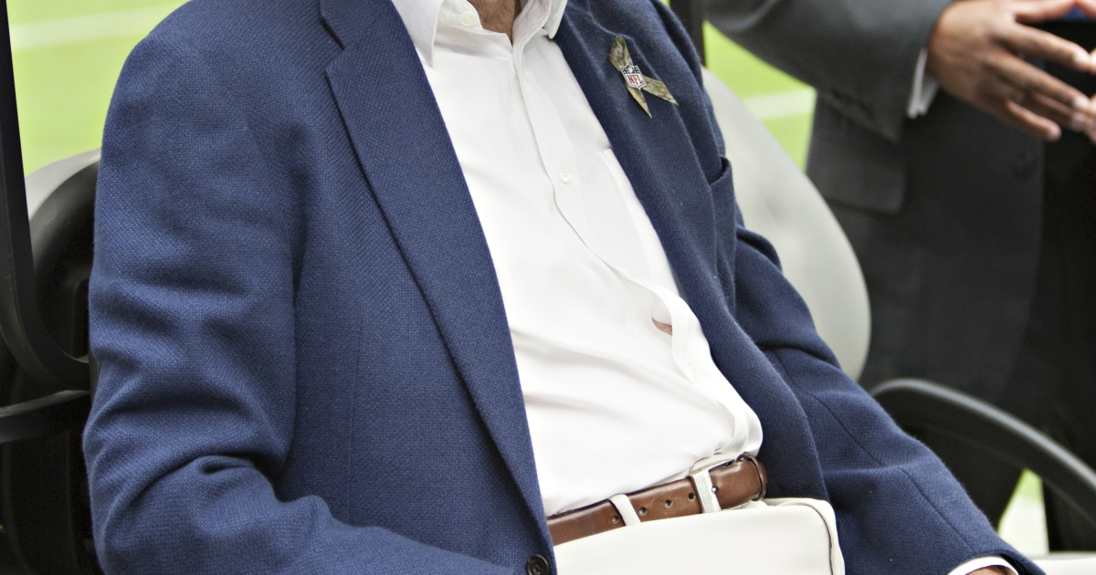 Former President George H.W. Bush on hand on Salute To Service day before the Houston Texans play the Buffalo Bills at Reliant Stadium on Nov. 4, 2012, in Houston.</p>