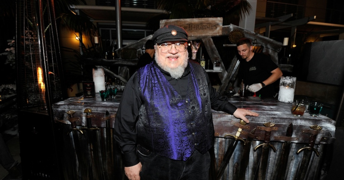 George R.R. Martin attends the 'Game Of Thrones' HBO celebration party inside the WIRED Cafe at Palm Terrace At The Omni Hotel during Comic-Con International on July 13, 2012 in San Diego, California.</p>
