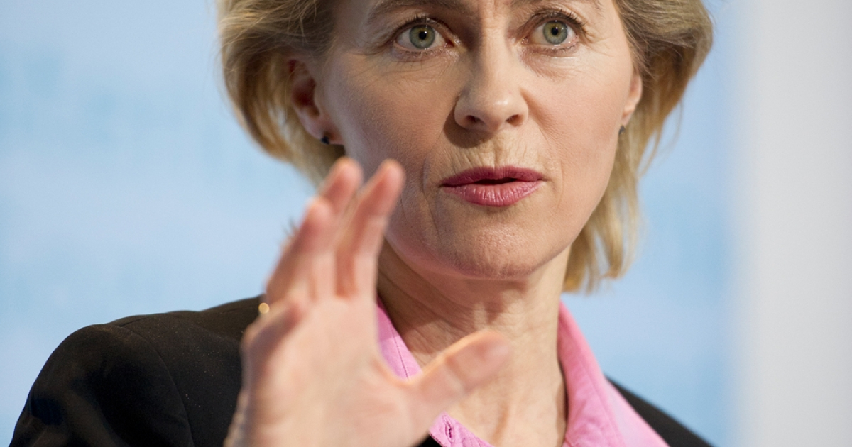 German Labor minister Ursula von der Leyen makes a point at a press conference where she announced a post-reunification record low level of unemployment.</p>