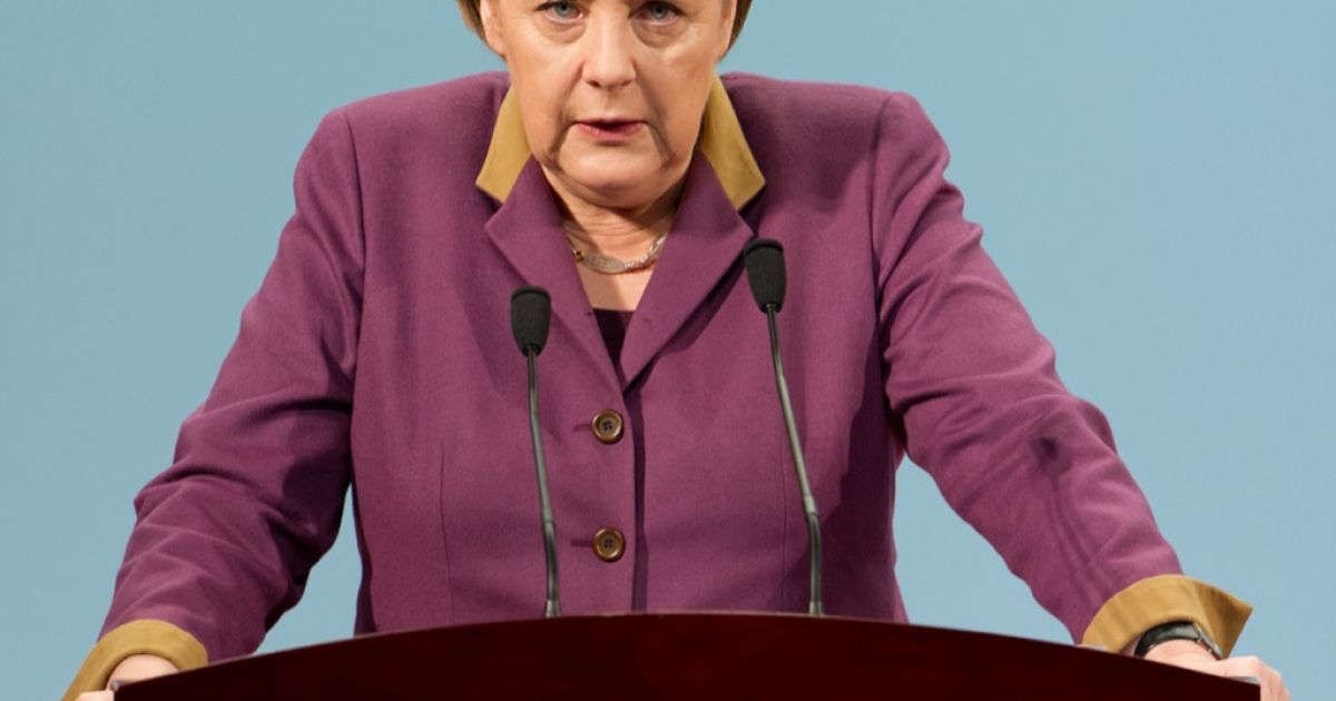 Germany's Chancellor Angela Merkel gives a speech at the Chinese Academy of Social Sciences in Beijing on Feb. 2, 2012.</p>