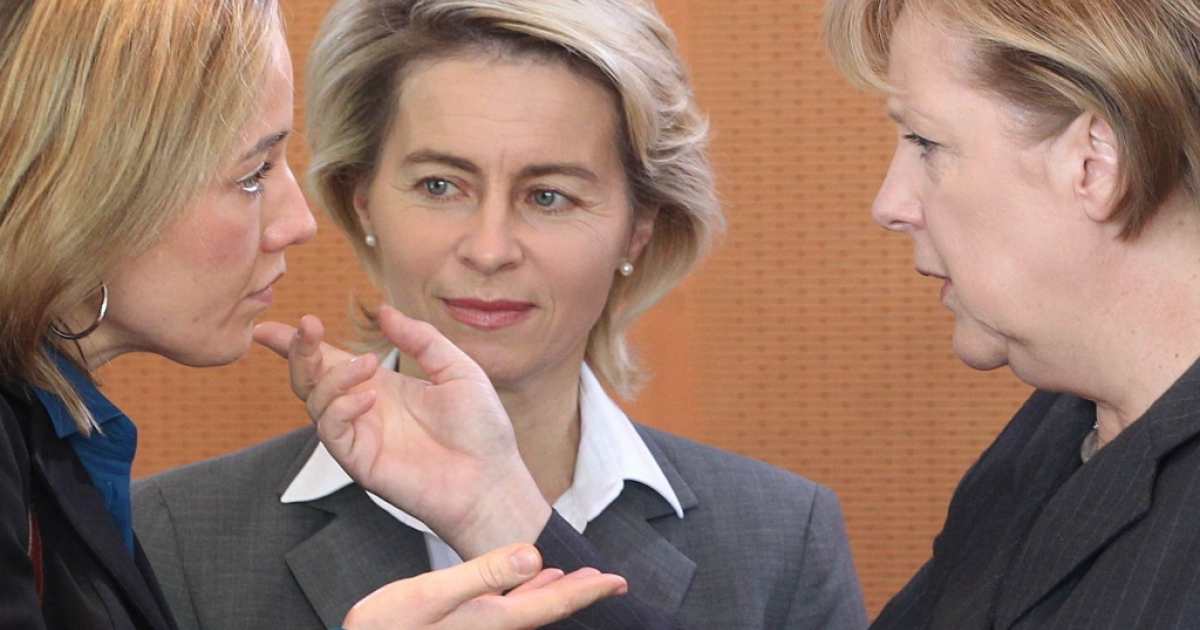 Family Minister Kristina Schroeder (left) and Labour Minister Ursula von der Leyen (center), pictured here with German Chancellor Angela Merkel, disagree about whether Germany needs quotas to ensure women are promoted to corporate leadership spots.</p>