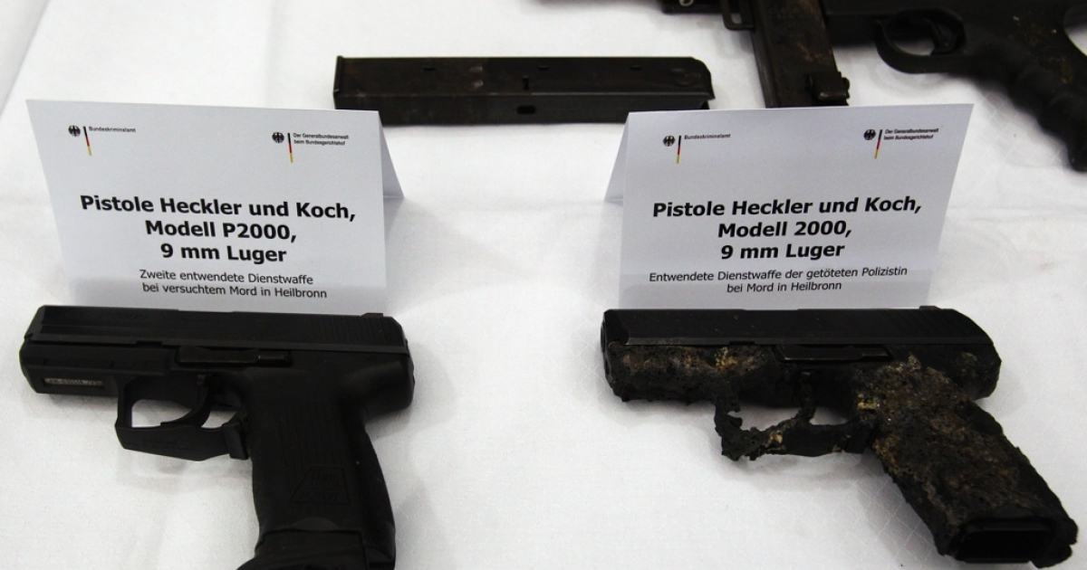 Service revolvers from the crime scene where a police officer was killed in Heilbronn, later found by police at the former residence of neo-Nazis Uwe Mondlos and Uwe Boenhardt. The trial of their companion, Beate Zschaepe, has begun in Munich.</p>