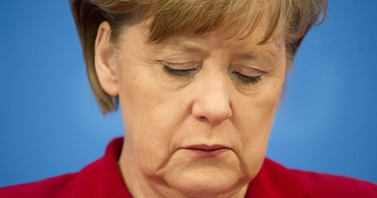 German Chancellor Angela Merkel addresses a press conference at the Christian Democrats (CDU) headquarters in Berlin on March 28, 2011. Merkel's conservatives lost power in their German heartland after nearly six decades.</p>