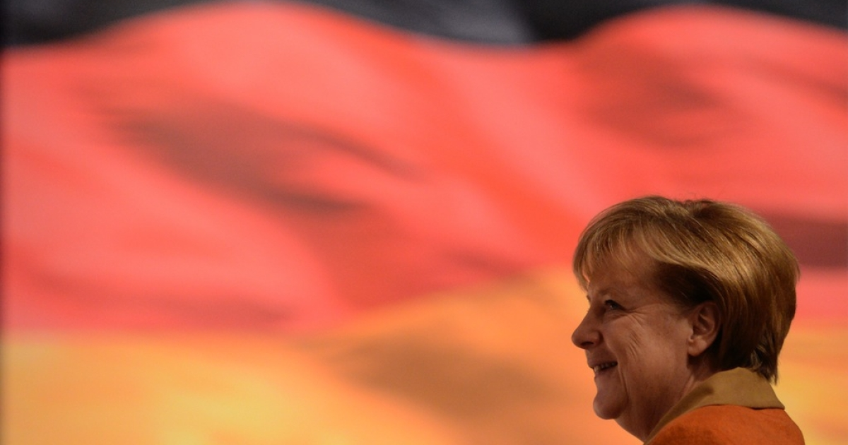 German Chancellor Angela Merkel, the proud mother Germany's newest territorial gain.</p>