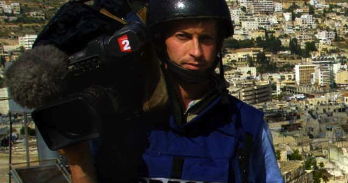 A picture taken on April 9, 2002 shows cameraman Gilles Jacquier from French TV 2 posing in the West Bank city of Nablus. French television reporter Gilles Jacquier was kiled by a shell in the flashpoint city of Homs on January 11, 2012, becoming the first Western journalist to be killed in 10 months of deadly unrest across Syria. According to an AFP reporter at the scene, a shell exploded amid a group of journalists covering demonstrations in the city of Homs, a centre of opposition to the regime of President Bashar al-Assad. Several more people were reported wounded in the blast, which occurred as the reporters were on a visit organized by the Syrian authorities.</p>
