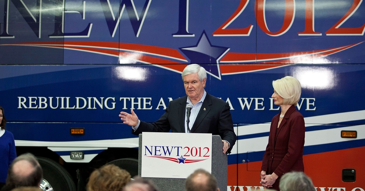 Republican presidential candidate Newt Gingrich speaks at a town hall meeting at a Coca-Cola bottling plant in Atlantic, Iowa, on Dec. 31, 2011.</p>