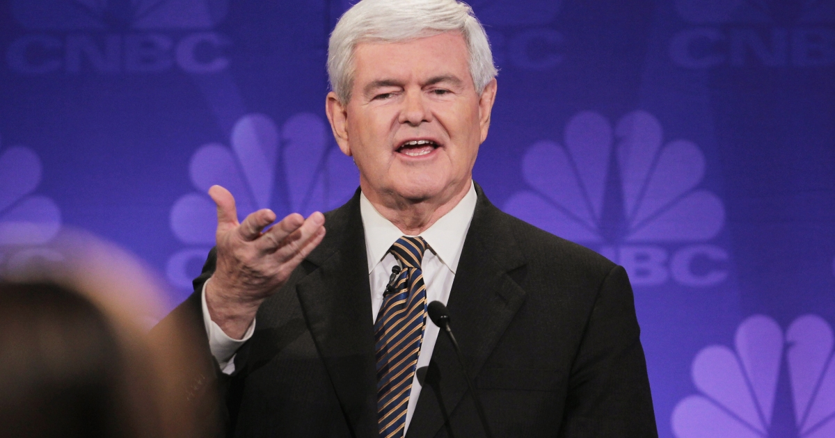 Former Speaker of the House Newt Gingrich speaks during a debate hosted by CNBC and the Michigan Republican Party at Oakland University in Rochester, Mich., on Nov. 9, 2011.</p>