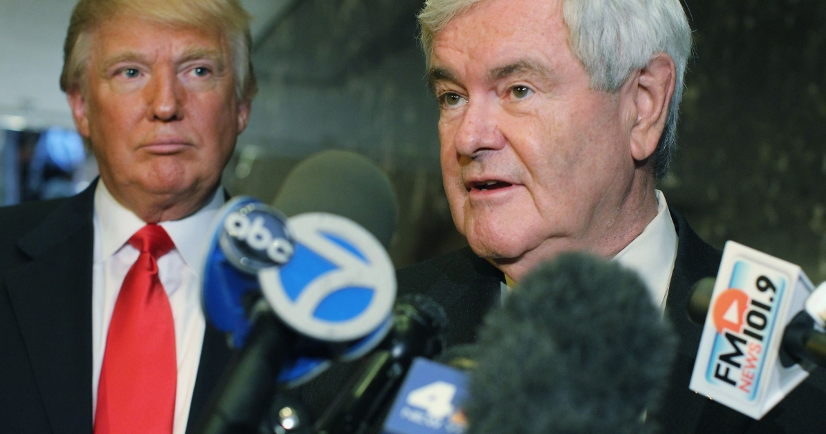A source close to Newt Gingrich's campaign told the AP that Donald Trump (L) will announce his support for the former House speaker on Thursday in Las Vegas, where Gingrich is currently campaigning ahead of Saturday's Nevada caucus.</p>