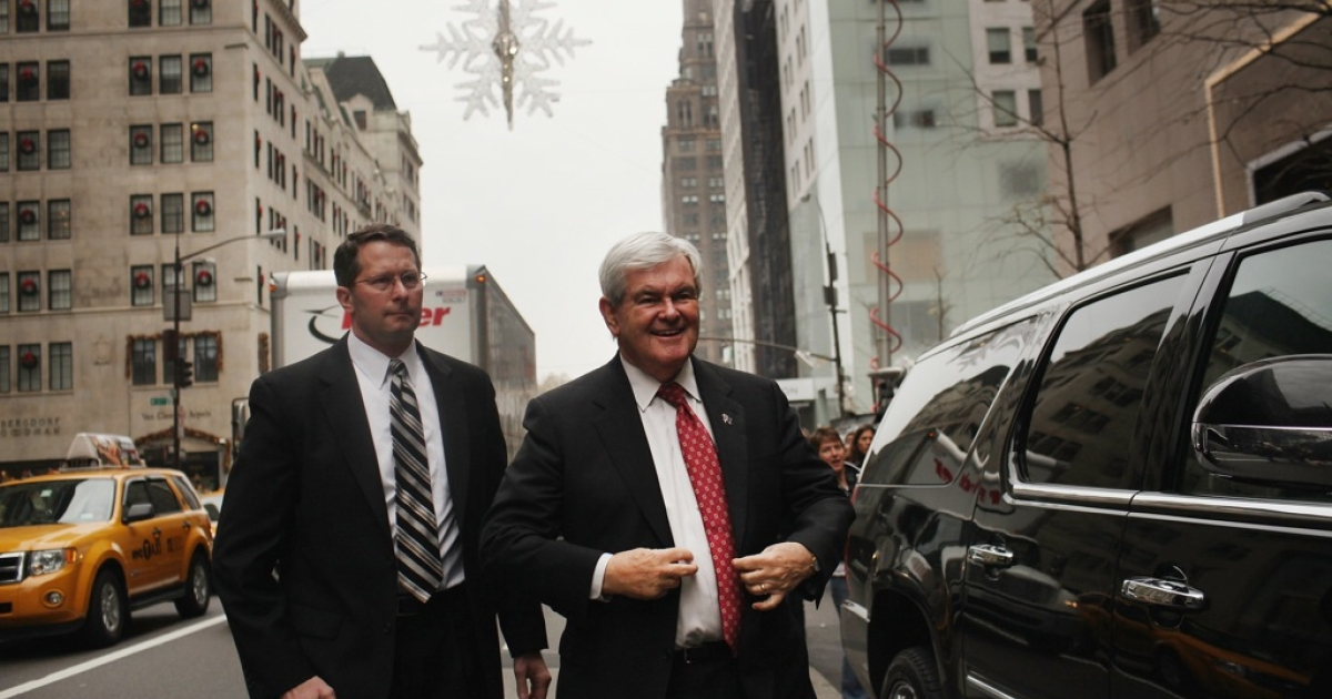 Republican presidential candidate and former Speaker of the House Newt Gingrich (R) arrives at Trump Tower to meet with Donald Trump on December 5, 2011 in New York City. Gingrich, who's seen a surge in polls in recent weeks, attended a town hall event December 3, 2011 hosted by the Tea Party of Staten Island.</p>