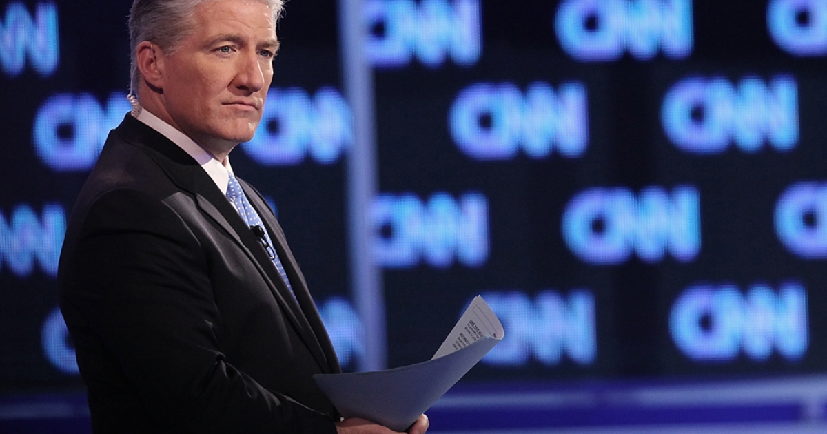 CNN anchor John King moderates a debate for the four remaining Republican presidential candidates at the North Charleston Coliseum January 19, 2012 in South Carolina.</p>