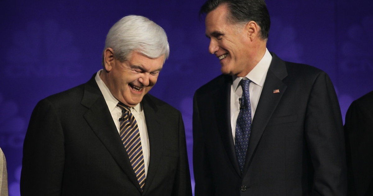 Republican presidential candidates former Speaker of the House Newt Gingrich and former Massachusetts Gov. Mitt Romney.</p>