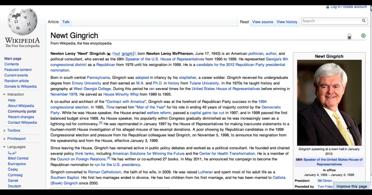 Over 60 changes have been made to Gingrich's Wikipedia page by his communications director.</p>