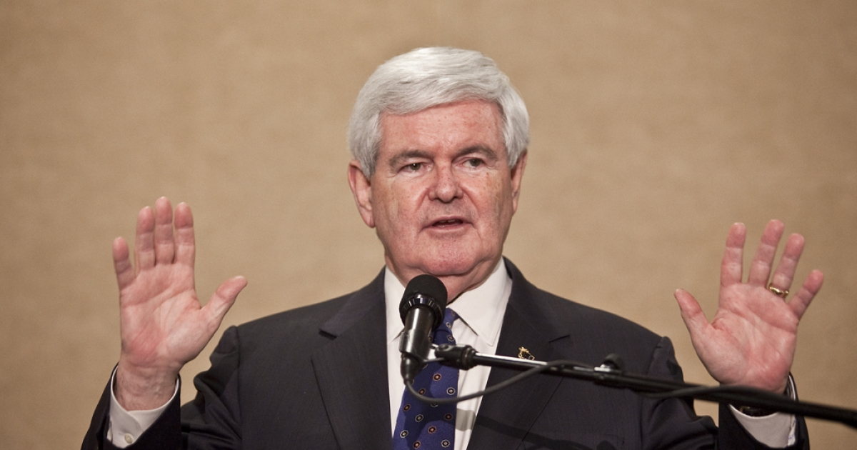 Republican presidential candidate, former Speaker of the House Newt Gingrich speaks during a primary night gathering at the Vintage Motor Club on April 24, 2012 in Concord, North Carolina. Gingrich announced that he will officially be suspending his campaign on Wednesday, May 2.</p>