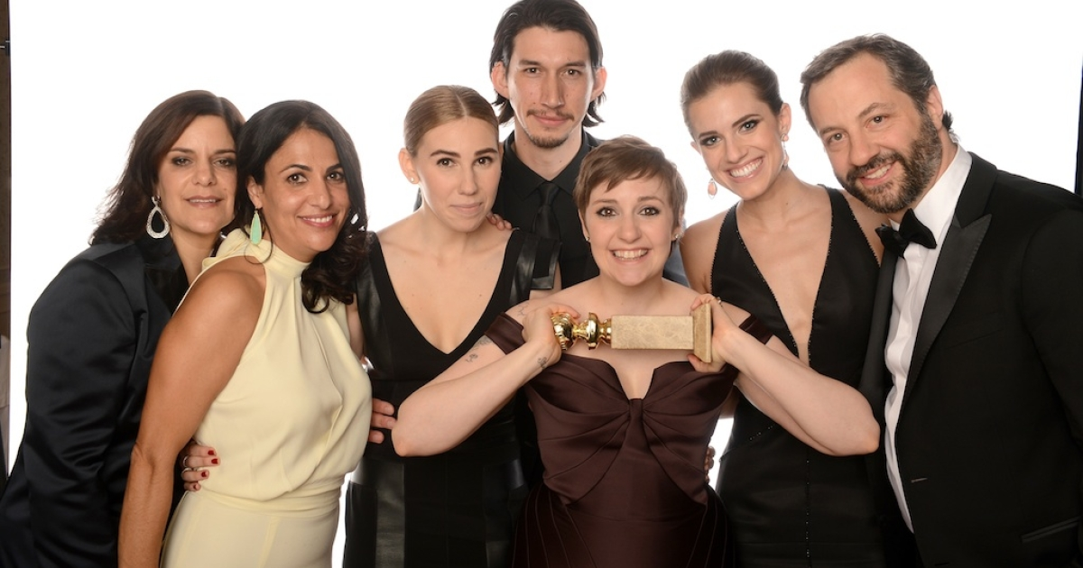 (L-R) Executive Producer Ilene Landress, Writer/Producer Jennifer Konner, actress Zosia Mamet, actor Adam Driver, actress/writer Lena Dunham, Allison Williams and producer Judd Apatow of 'Girls' pose for a portrait at the 70th Annual Golden Globe Awards held at The Beverly Hilton Hotel on January 13, 2013 in Beverly Hills, California.</p>
