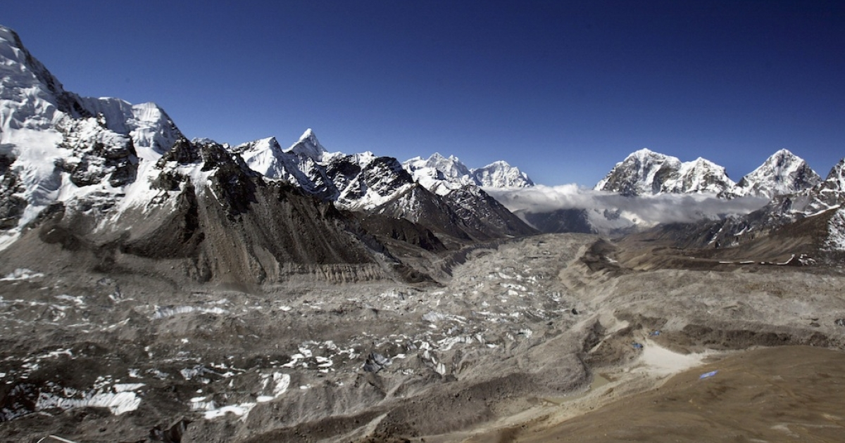 Aerial photograph of the Khumbu Glacier and the Everest Himalayan range May,15,2003 on the Nepal-Tibet border.</p>