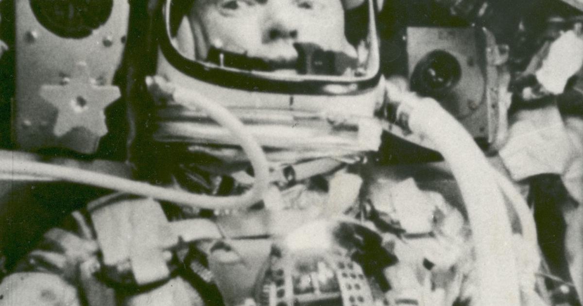 Astronaut John Glenn during his flight on Friendship 7 on Feb. 20, 1962.</p>