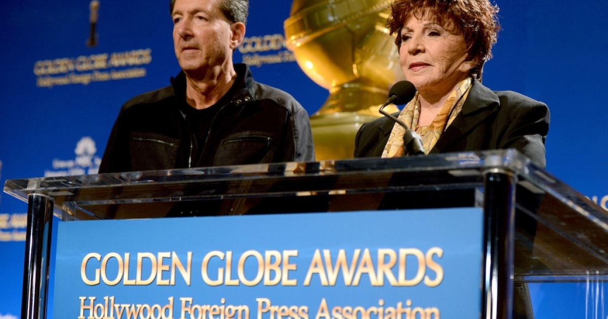 EVP of Television at Dick Clark Productions Barry Adelman (L) and Hollywood Foreign Press Association (HFPA) President Dr. Aida Takla-O'Reilly speak onstage during the 70th Annual Golden Globes Awards Nominations at the Beverly Hilton Hotel on December 13, 2012 in Los Angeles, California.</p>