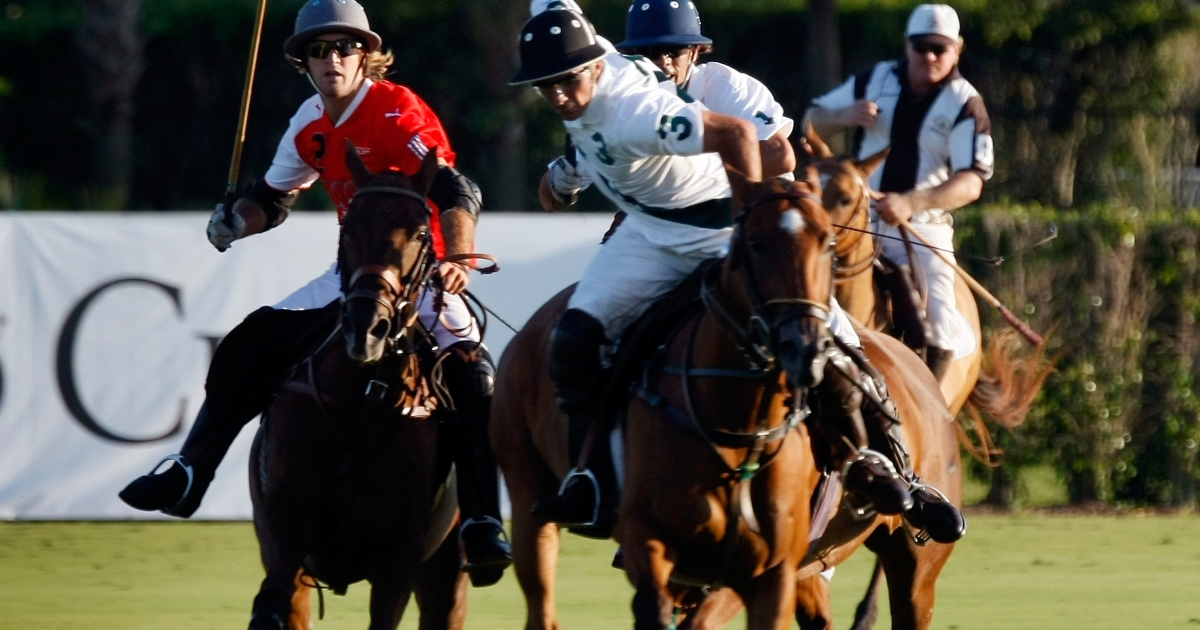 The Audi and White Birch teams play against each other on the polo grounds of the International Polo Club during the US Open in Wellington, Fla., on April 23, 2009.</p>
