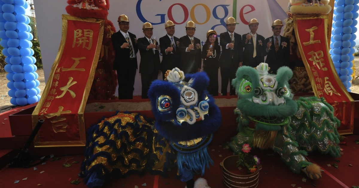 Google has launched a new anti-censorship feature from its Hong Kong-based search site for its services in China. Here Google executives and the Hong Kong Government participate in a ground breaking ceremony for Google's Hong Kong Data Center on December 8, 2011.</p>