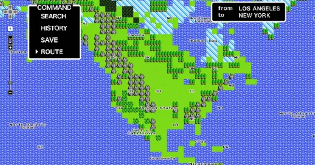 An 8-bit version of a Google map one day before April Fools 2012.</p>